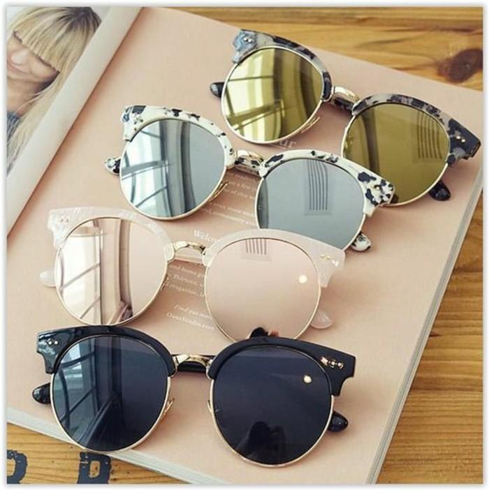 Sonnenbrille- reflektierend rund Damenmode Accessoires