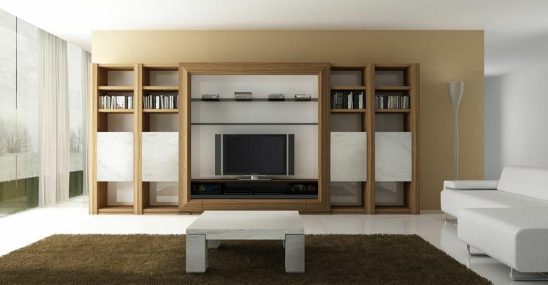 TV Wände Beispiele Wohnzimmermöbel TV Wohnwand Holz