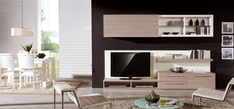 TV Wände Beispiel Wohnzimmermöbel TV Wohnwand beige