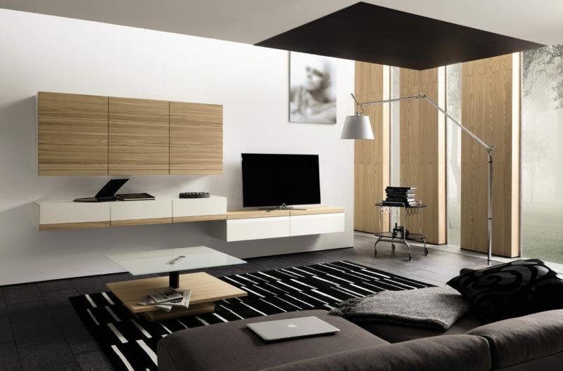 TV Wände Wohnzimmer Möbel TV Wohnwand Holz Fronten