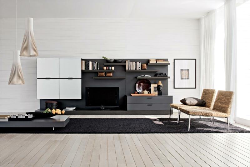 TV Wände Wohnzimmer Möbel TV Wohnwand Rattansessel Teppichboden
