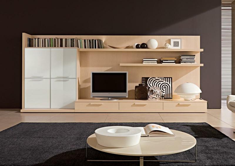 TV Wände Wohnzimmermöbel Couchtisch rund Holzmöbel TV Wohnwand