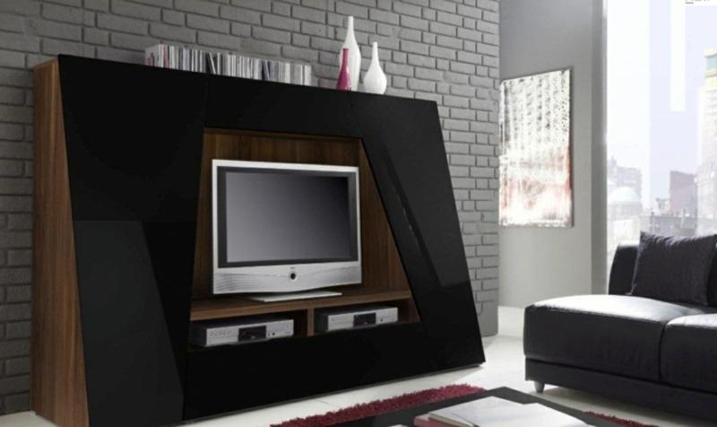 TV Wände Wohnzimmermöbel Holzmöbel Hochglanz schwarz TV Wohnwand