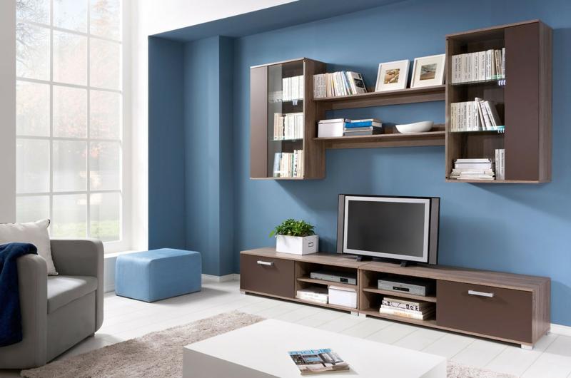 TV Wände Wohnzimmermöbel Holzmöbel TV Wohnwand Wandfarbe Blau