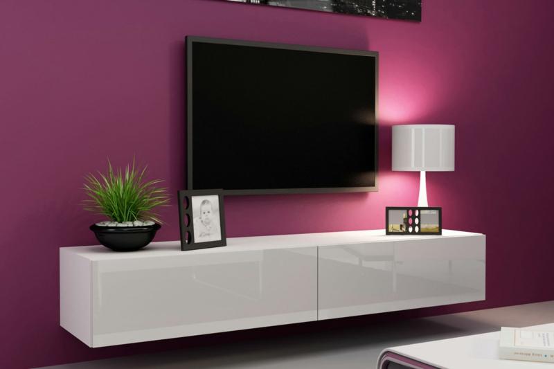 TV Wände Wohnzimmermöbel Holzmöbel TV Wohnwand Wandfarbe Pink