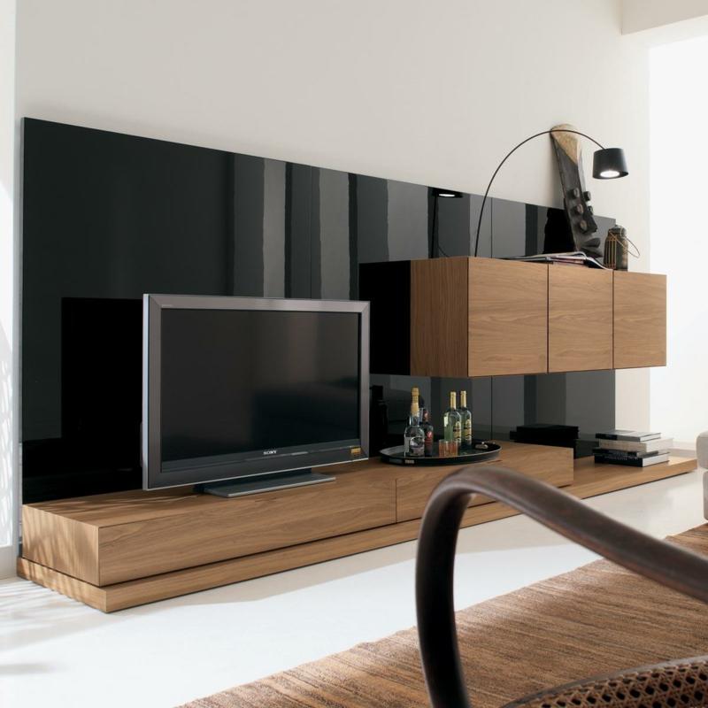 TV Wände Wohnzimmermöbel Holzmöbel TV Wohnwand schwarz Hochglanz