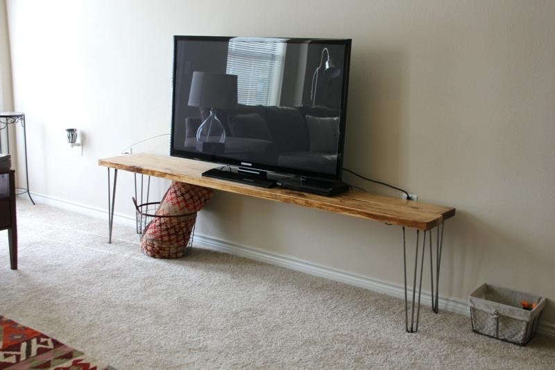 TV Wände Wohnzimmermöbel Holzmöbel vintage Holzbank