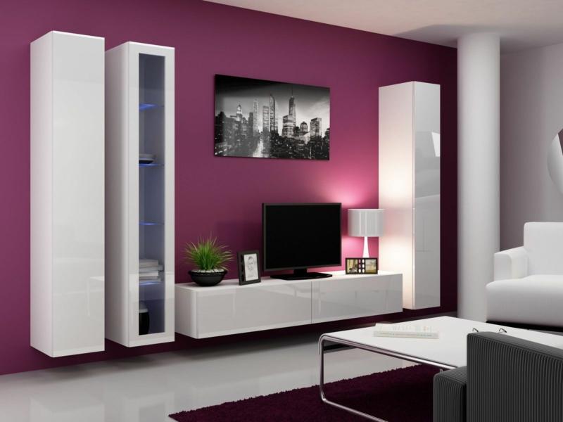 TV Wände Wohnzimmermöbel TV Wohnwand Wandfarbe Pink