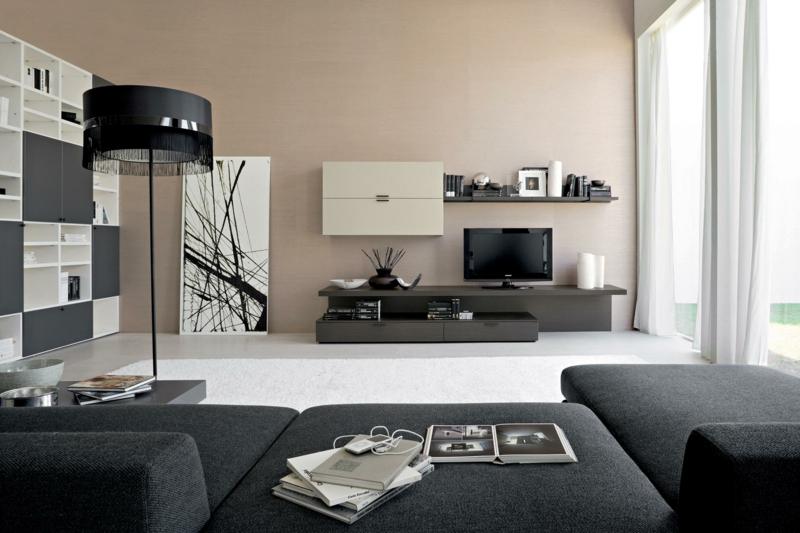 TV Wände Wohnzimmermöbel TV Wohnwand Wandfarbe beige