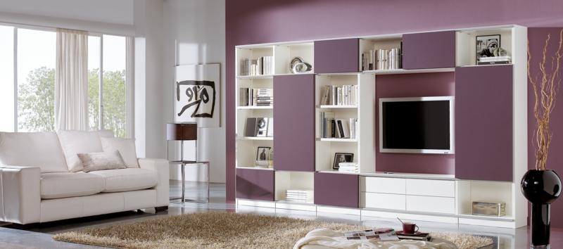 TV Wände Wohnzimmermöbel TV Wohnwand Wandfarbe lila