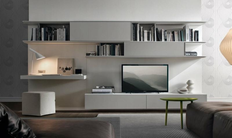 TV Wände Wohnzimmermöbel TV Wohnwand weiß Wandregale