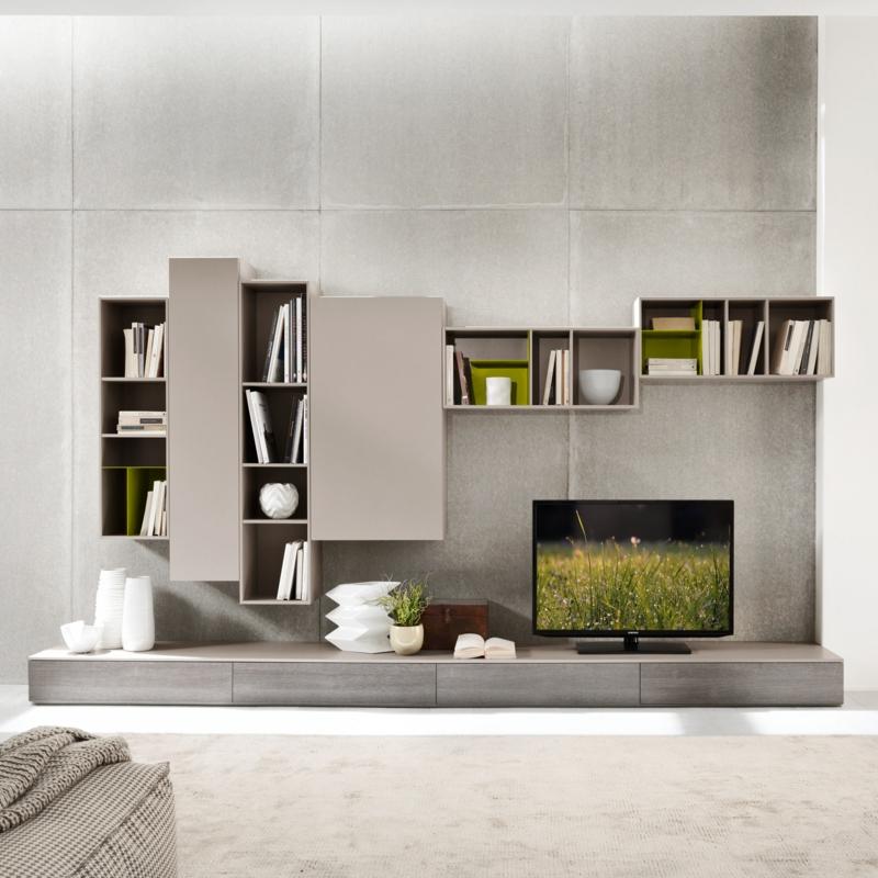 TV Wände Wohnzimmermöbel grau TV Wohnwand Betonwand