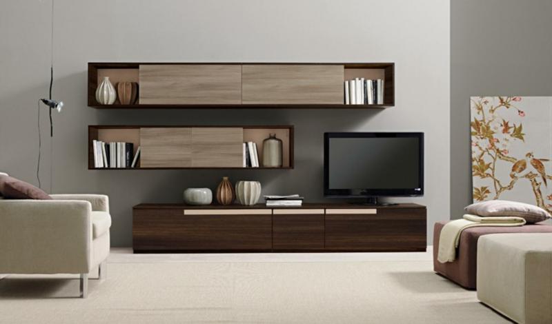 TV Wohnwand Holz Beispiele Wohnzimmermöbel Polstersessel