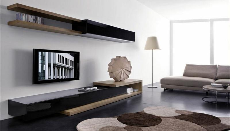 TV Wohnwand Holz Hochglanz schwarz Wohnzimmermöbel Sofa Teppich