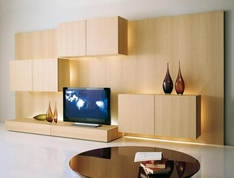 TV Wohnwand Holz indirekte Beleuchtung Wohnzimmermöbel Couchtisch