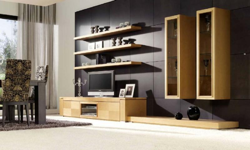 TV Wohnwand Holz offener Wohnraum Wohnzimmermöbel