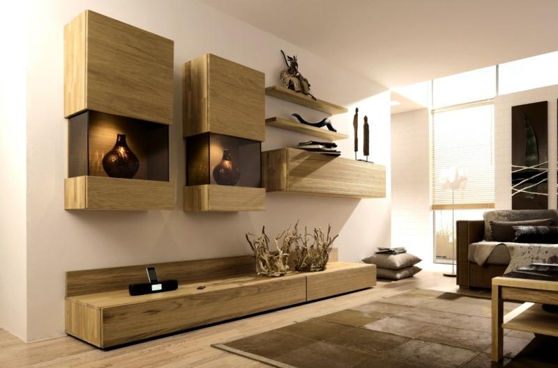 TV Wohnwand Holz rustikale Wohnzimmermöbel Couchtisch