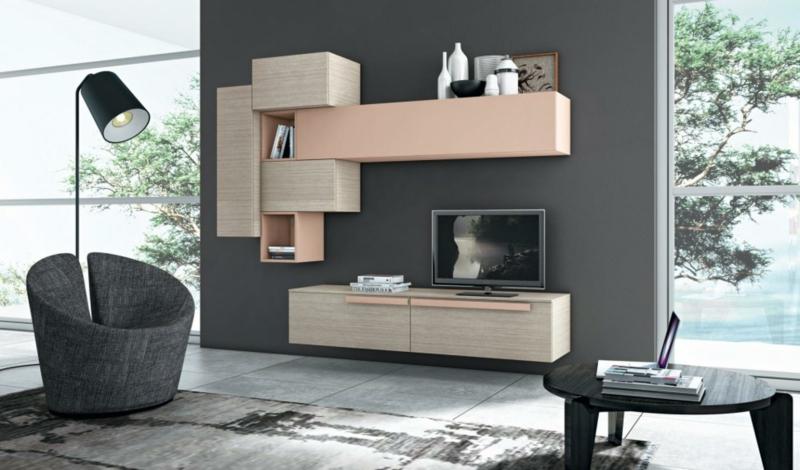TV Wohnwand Holz rustikale Wohnzimmermöbel Wandfarbe Grau