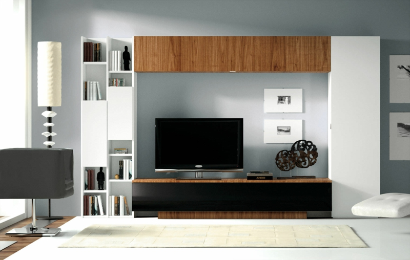 wohnwand modern mit viel stauraum. Black Bedroom Furniture Sets. Home Design Ideas
