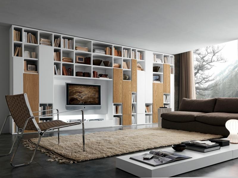 Fantastisch Die Moderne Wohnwand Ist Praktisch Und Bietet Viel Stauraum An ...