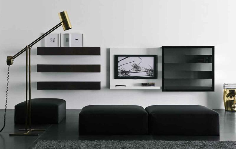 TV Wohnwand schwarz weiß Wohnzimmermöbel Sessel Hocker