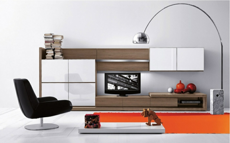 TV Wohnwand weiß Hochglanz Holz Wohnzimmermöbel Sessel