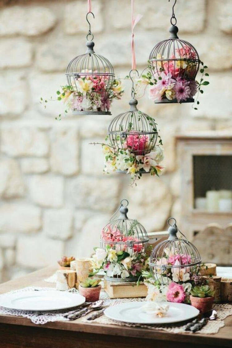 Tischdeko Garten party Deko selber machen DIY Deko Blumen