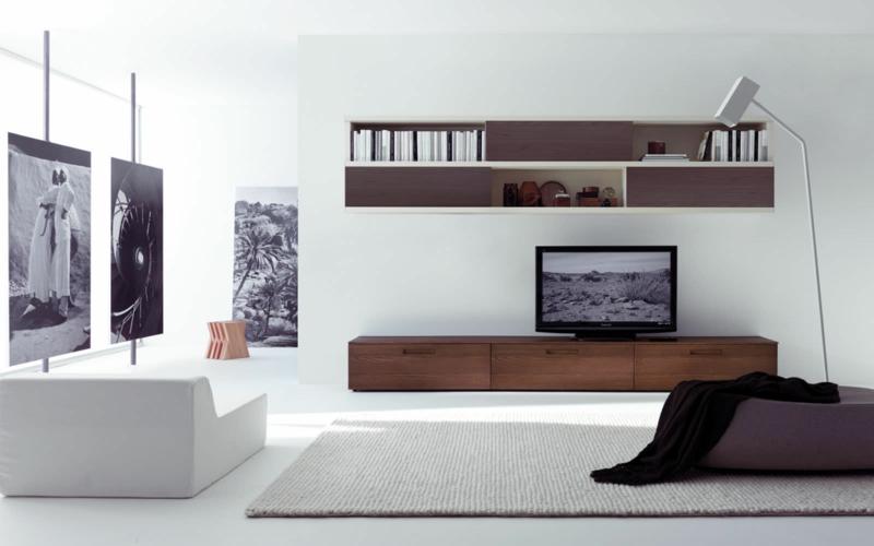 Die moderne wohnwand ist praktisch und bietet viel stauraum an for Fernsehwand modern