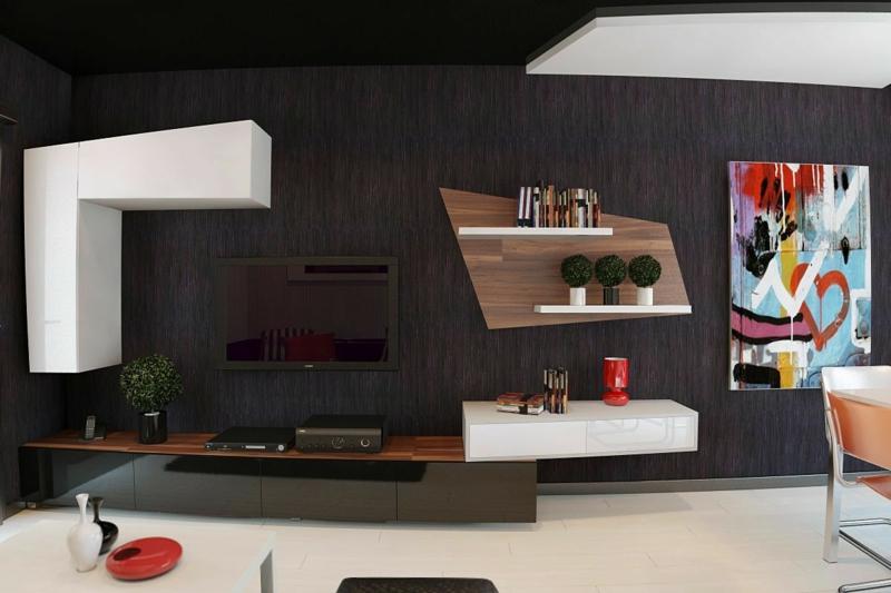 moderne wohnwand als raumtrenner. Black Bedroom Furniture Sets. Home Design Ideas
