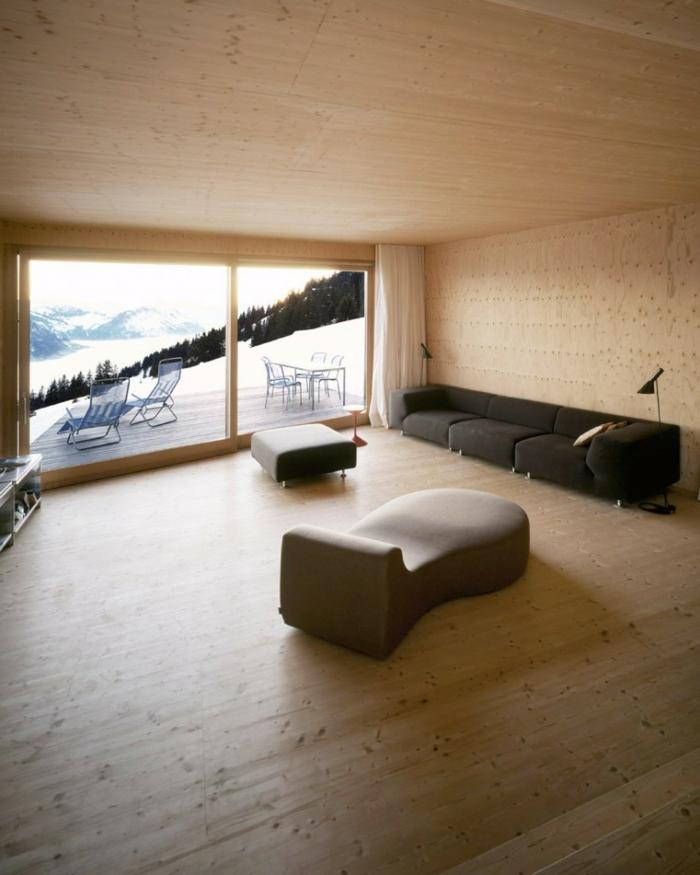 außergewöhnliche ferienhäuser bergen alpen schweiz helles holz minimalistisches innendesign