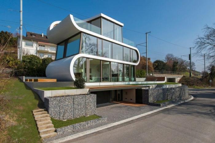 außergewöhnliche ferienhäuser modernes design schweiz wellenform