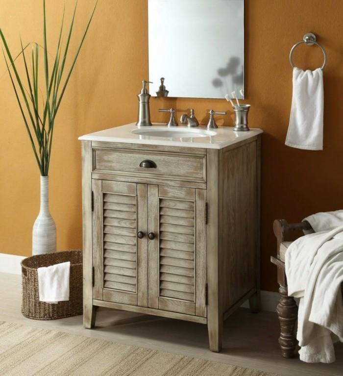 badezimmer shabby chic wohnstil geflochtener korb holzkommode waschtisch