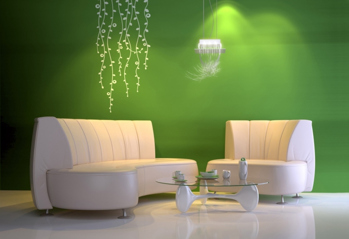 beleuchtung moderne einrichtung energie sparen wandfarbe grün pendelleuchte