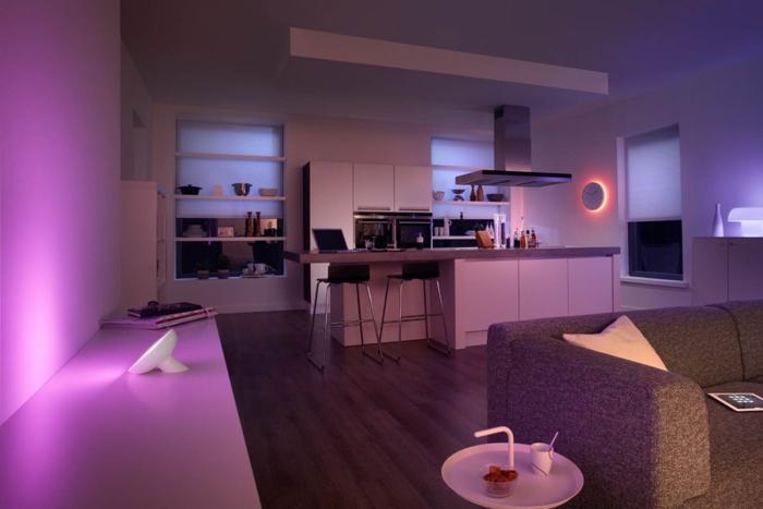 beleuchtung modernes interior lila farbe licht