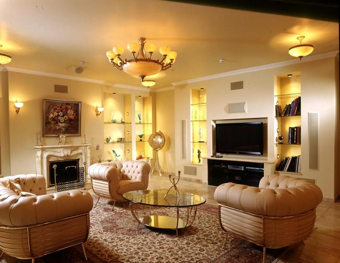 beleuchtung pendellampen ledersessel wohnzimmer einrichten perserteppich