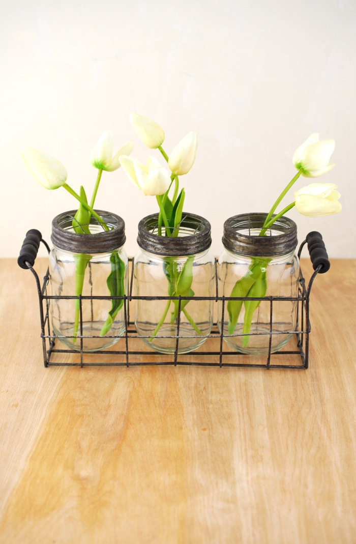 deko blumen vasen einmachgläser tulpen
