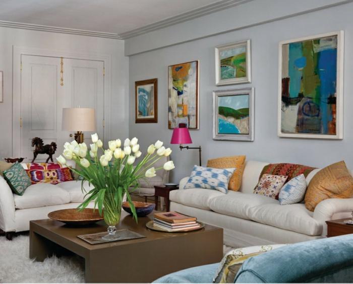 deko blumen wohnzimmer dekorieren weiße tulpen