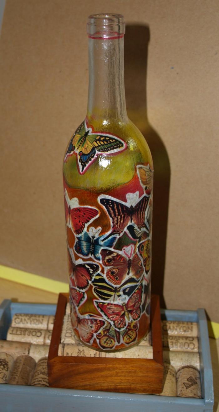 deko flaschen bemalen farbig dekoideen