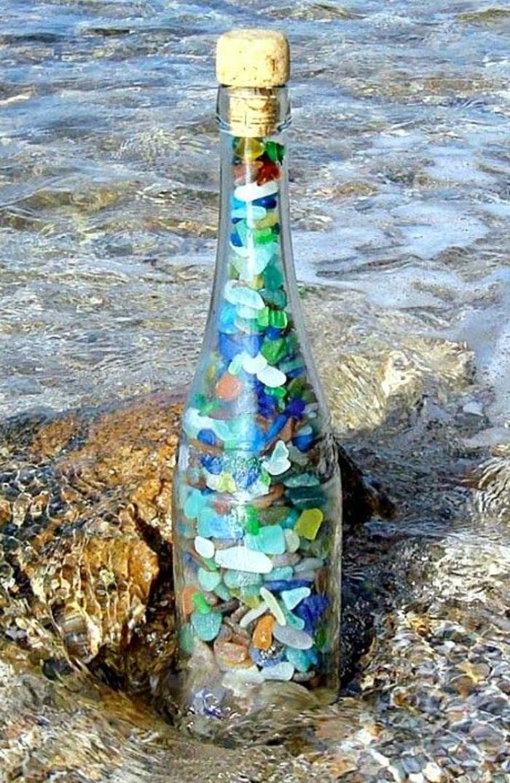 deko flaschen füllen steine farbig