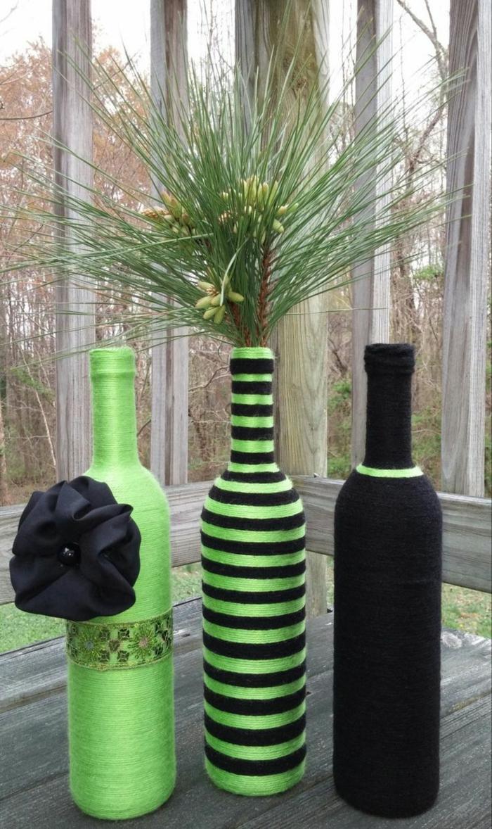 deko flaschen faden grün schwarz dekoideen