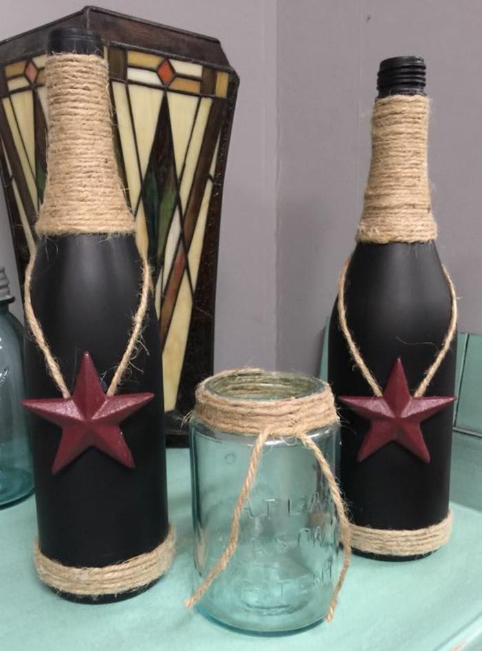deko flaschen schwarz dunkelrote sterne dekoideen