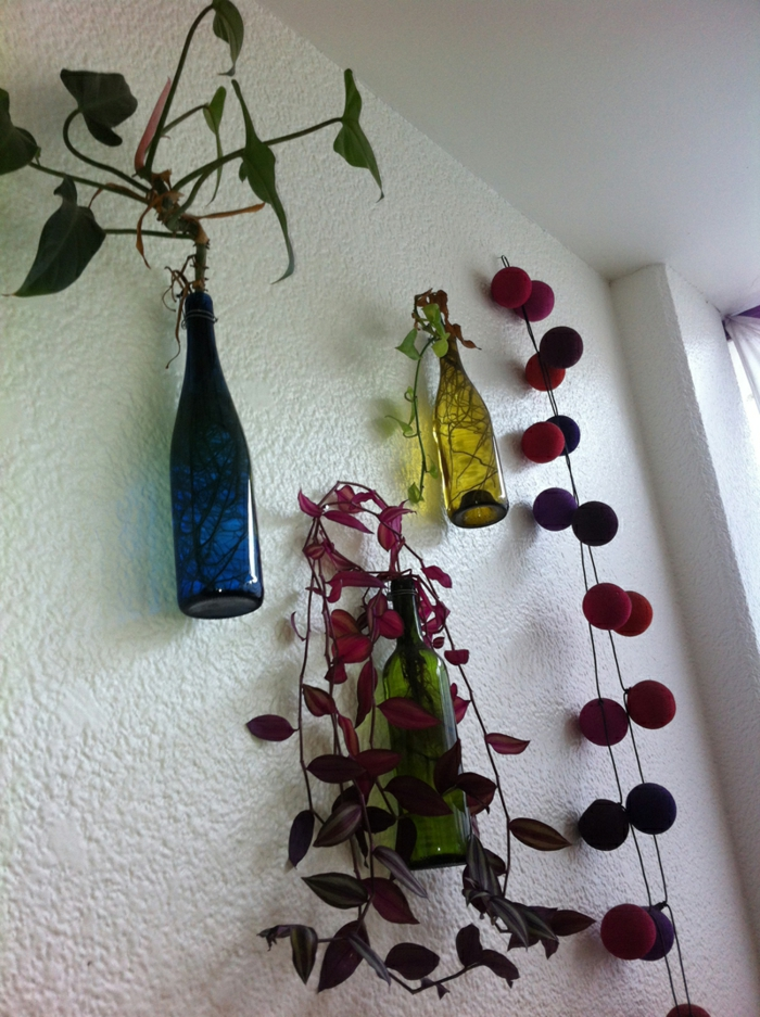 deko flaschen wanddeko pflanzen