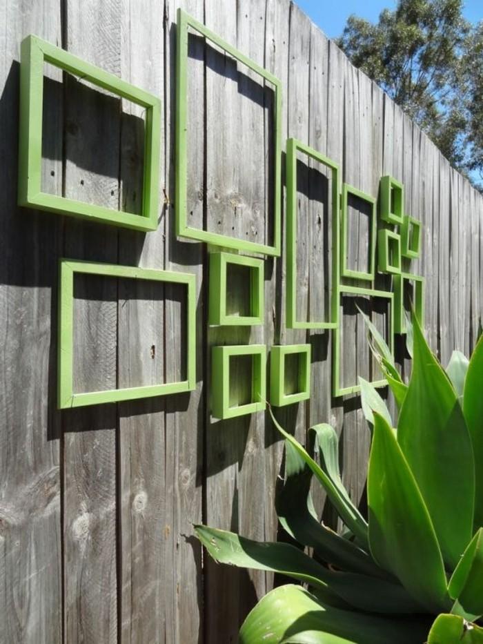 deko garten bilderrahmen grün gartenzaun dekoideen