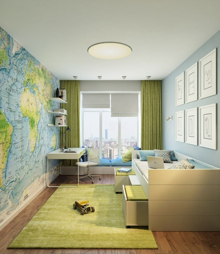 dekoideen jugendzimmer weltkarte grüner teppich