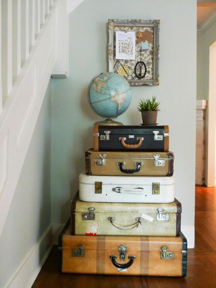 diy deko globus retro koffer eingang dekorieren