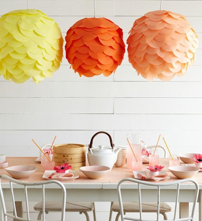 diy deko laternen basteln farbig esstisch dekorieren
