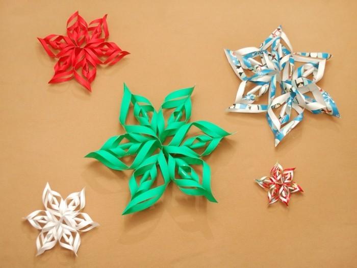 diy deko papier schneeflöckchen farbig