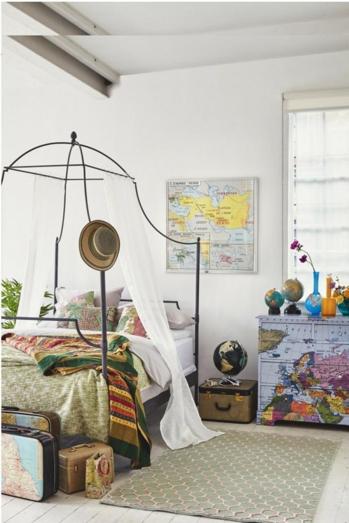 diy deko schlafzimmer ideen globen weltkarte teppichläufer
