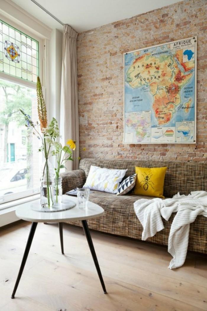 diy deko wohnzimmer dekoideen weltkarte wanddkeo ziegelwand