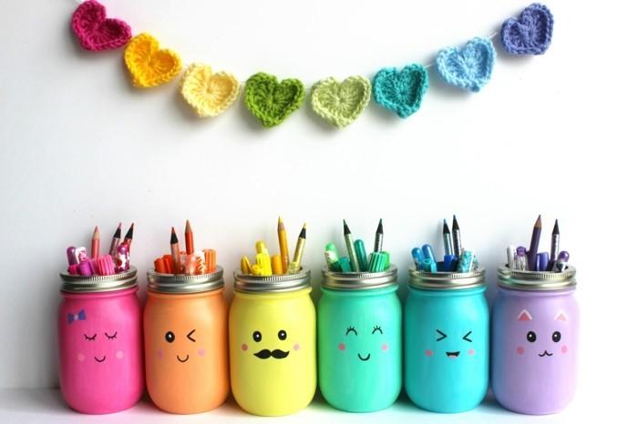 diy ideen einmachgläser bleistifte aufbewahren farbig lustig